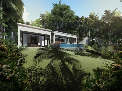 View of the back patio pool of the Eco-friendly Luxurious Rainforest Reserve Residence in Costa Rica Development in the Central Pacific for sale