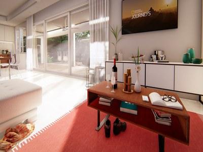 Modern luxury living room in oceanview Rainforest Reserve Residence in Costa Rica's Premier development of houses for sale