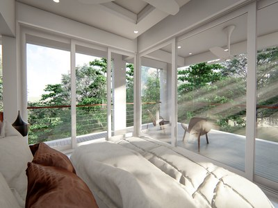 Bedroom with oceanview in the Rainforest Reserve Residence in Costa Rica. Luxury Development in the Central Pacific with Houses for sale.