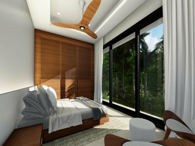 Bedroom with rainforest view in modern eco-friendly Costa Rica's Premier Development in the Central Pacific with Luxury Houses for sale
