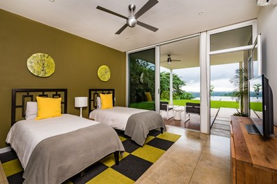 Blue Water View Bedroom in This Modern Ocean View Luxury Residences for Sale Costa Rica