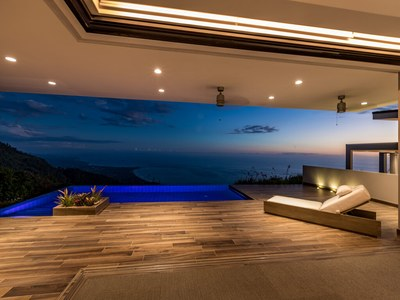 Inviting Evening Lounge at Hilltop House for Sale in Puntarenas, Costa Rica