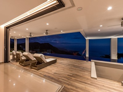 Lounge to Ocean at Dark from Hilltop House for Sale in Puntarenas, Costa Rica