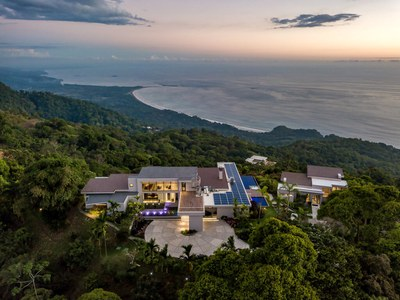Solar Panels depicted in this Aerial Top of the Hill  House for Sale in Puntarenas, Costa Rica