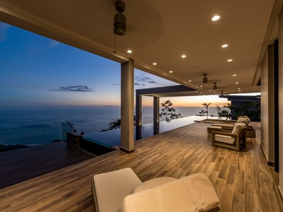 Terrace, Deck, Infinity Afterglow in Hilltop House for Sale in Puntarenas, Costa Rica