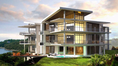 Condo Design of     Oceanfront and Ocean View Drone view of Luxury Condos for Sale on the Central Pacific of Costa Rica
