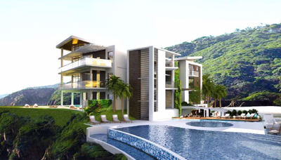 Pool to Tower view of     Oceanfront and Ocean View Drone view of Luxury Condos for Sale on the Central Pacific of Costa Rica