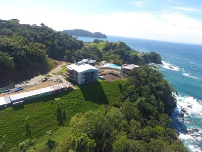 Oceanfront and Ocean View Drone view of Luxury Condos for Sale on the Central Pacific of Costa Rica