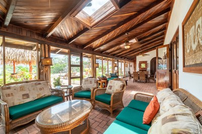 Outside Living Patio Area of Casa Mega Flamingo Beach Cliff Side Ocean View Rental