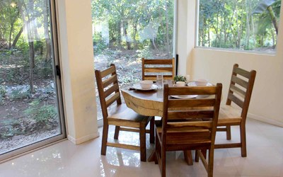 Dining Area of Casa Guana II: 2 Bedroom 2 Bath Riverfront Residence for Rent in Surfside / Playa Potrero