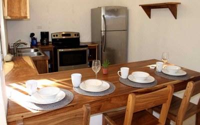 Kitchen Bar of Casa Guana I - Efficiency Riverfront Residence for Rent in Surfside / Playa Potrero