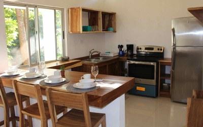 Kitchen & Dining Casa Guana I - Efficiency Riverfront Residence for Rent in Surfside / Playa Potrero
