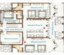 Lower Level Layout of of Luxury 9 Bedroom Oceanfront Residence in Guanacaste, Costa Rica