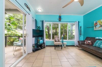 Living area flows into outdoor patio
