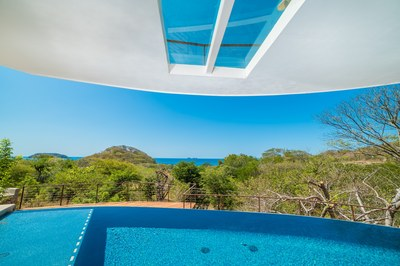 Glass in deck over pool Casa Vista Prieta Ocean View House For Sale in Potrero Costa Rica