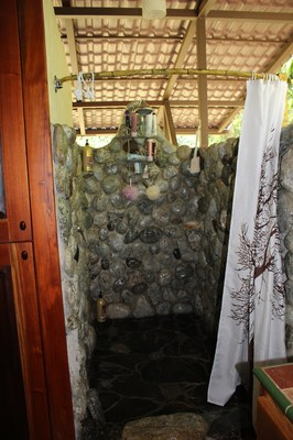 The shower in main house at Casa Nené on the Osa Peninsula
