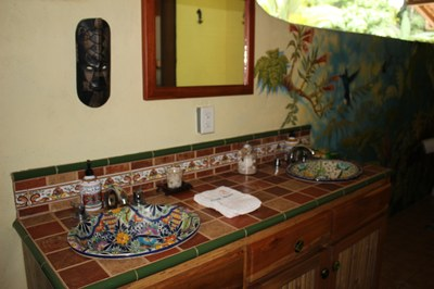 The sink area in master bath at Casa Nené on the Osa Peninsula