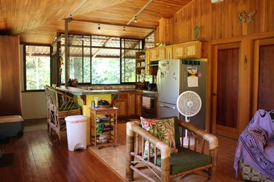 Living space with kitchen at Casa Nené on the Osa Peninsula