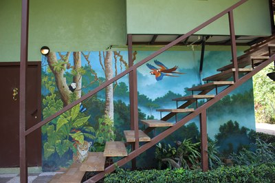 Mural at entry stairs at Casa Nené on the Osa Peninsula